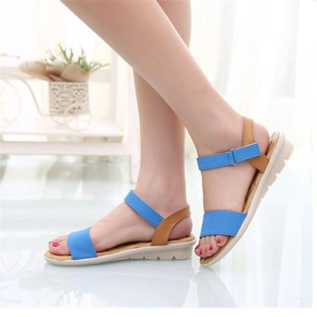 Sandals 3 Colors Patch Comfortable Flat Women Shoes Summer Style Soft Leather