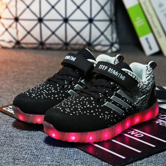 Light up kids led shoes luminous girls boys sneakers color glowing - DealsBlast.com
