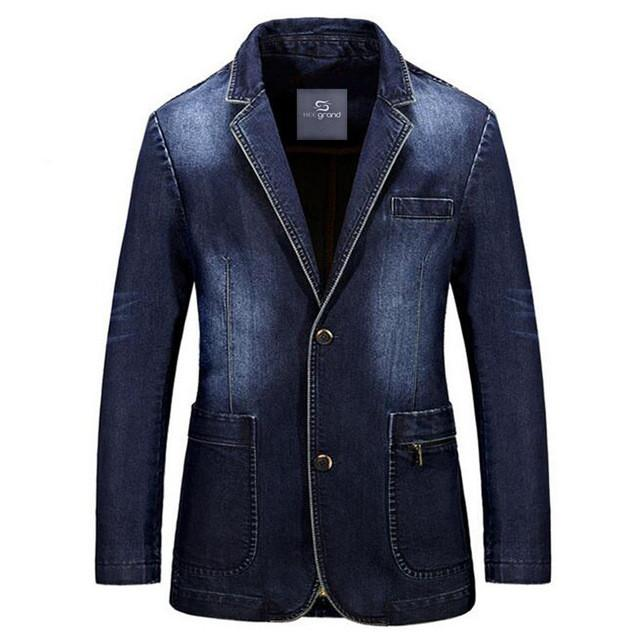Men Fashion Denim Blazer New Arrival Full Sleeve Straight Single Breasted Spring Suits Plus Size M-3XL - Deals Blast