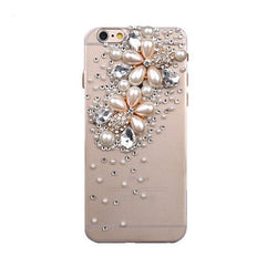 Pearl Flower 3D Bling Rhinestone Crystal Back Phone Cover For Apple iPhone 6 6s X  4s 5s 7 8 Plus - DealsBlast.com