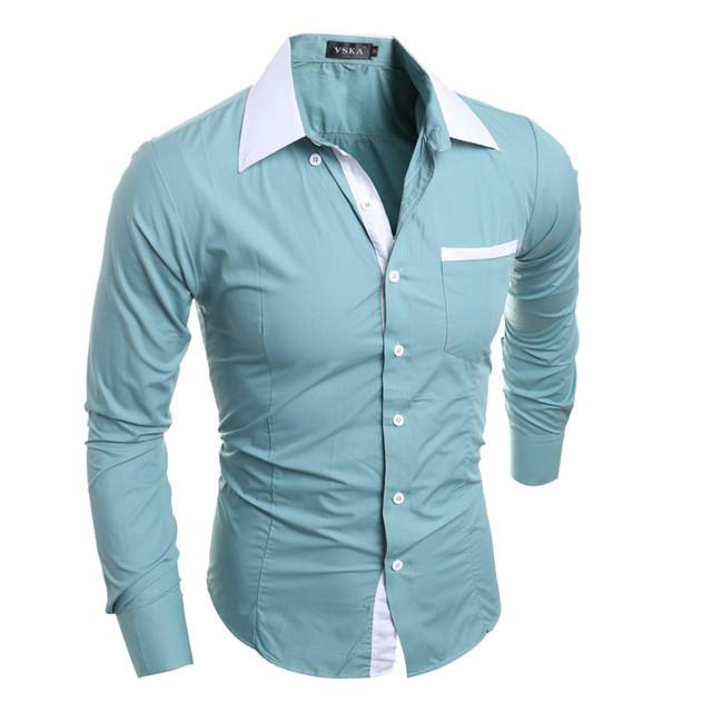 Men Shirt Luxury Brand Long Sleeve Shirts Casual Mens Simple Solid Single Breasted Slim Fit Dress - DealsBlast.com