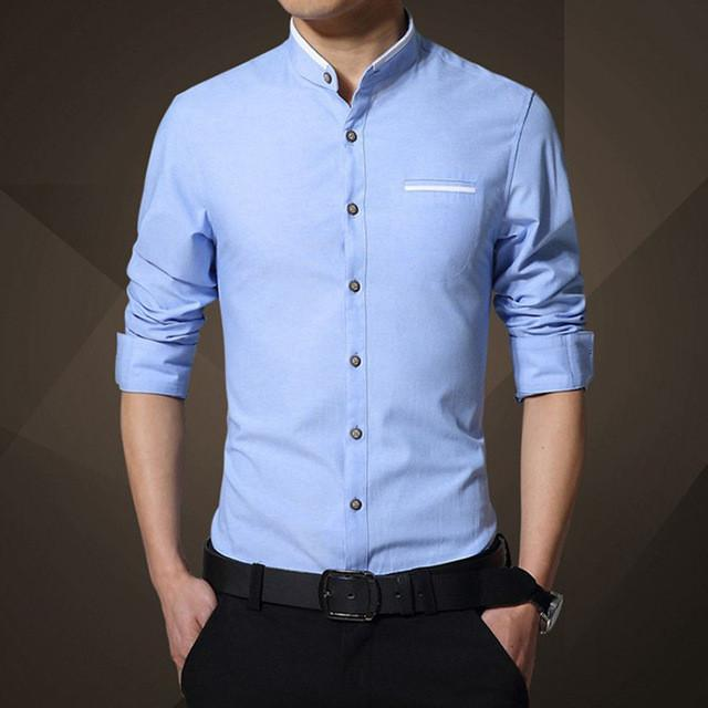 5XL Men Dress Shirt Solid Stand Collar Men's Tops Tees Long Sleeve Print Shirts Men Summer Business Shirts - DealsBlast.com