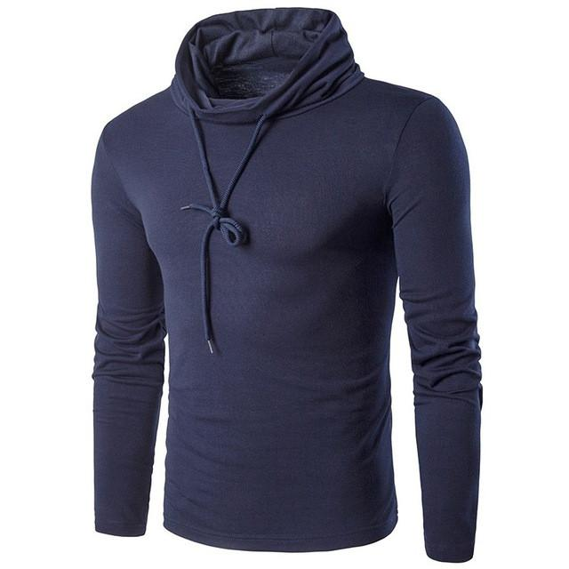 Men's Fashion Spring Turtle Neck Long Sleeve T Shirt Casual Solid Color Sliming Tops Tees Male Stylish T-Shirts - DealsBlast.com