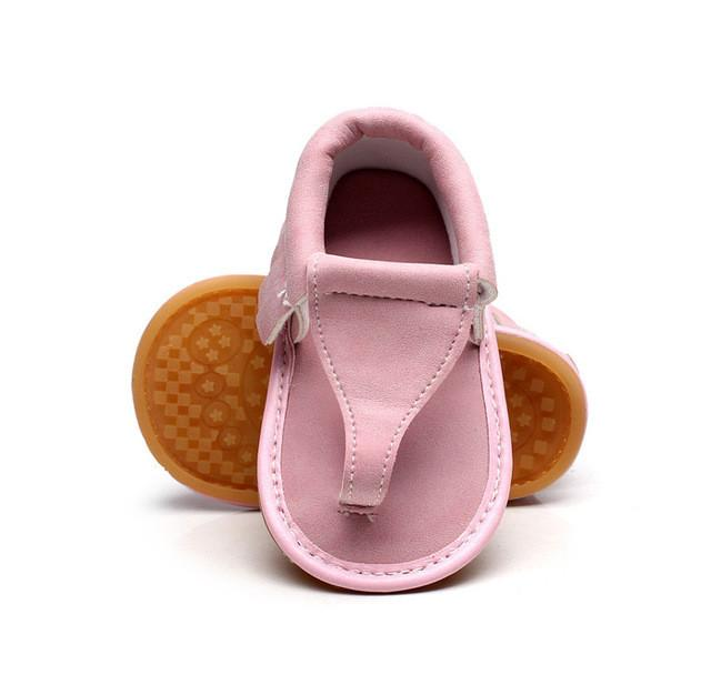 New arrived Summer infant Flip Flops Floral sandals 11 colors Hot sale Pu leather Baby moccasins Rubber sole Baby sandals 0-24 M
