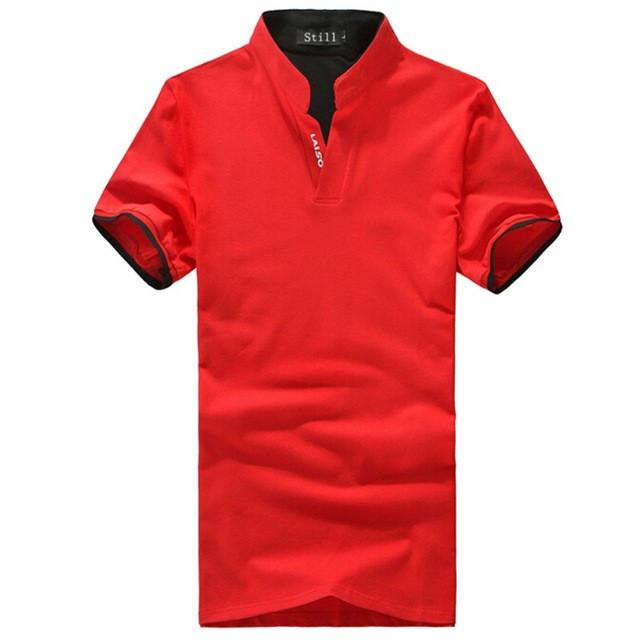 Men Cotton POLO Shirt V Neck Short Sleeve Shirts Mens Tops Clothes M- 3XL