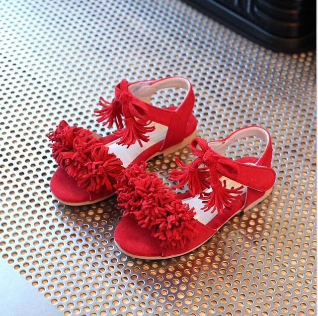 New style fashion baby shoes kids Girl Sandals Princess pink red Flower Girl Summer Dancing shoes - DealsBlast.com
