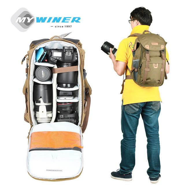 Winer Rover 65 photo dslr military green camera video black bag travel backpack with waterproof case for nikon canon three color - DealsBlast.com