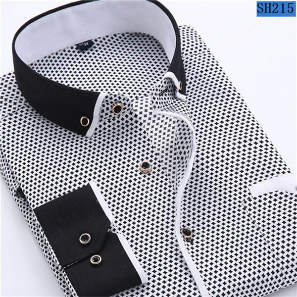 Men Fashion Casual Long Sleeved Printed shirt Slim Fit Male Social Business Dress Shirt Brand Men Clothing Soft Comfortable - DealsBlast.com