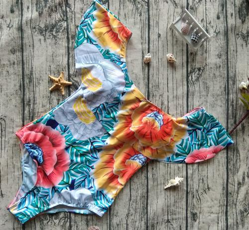 Off The Shoulder Ruffle Swimwear Women Swimsuit Monokini Thong Swim Wear One Piece Swimsuit - DealsBlast.com