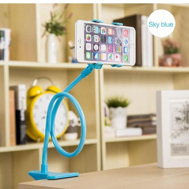 Phone Holder Lazy Mount Double V Clip Cell Phones Holder Clamp Flexible Goose neck Portable fit Bed Desktop Tablet Car Selfie