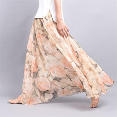 Elegant Summer Women Long Skirt Chiffon Beach Bohemian Maxi Skirts High Waist Tutu Casual Vestidos Print