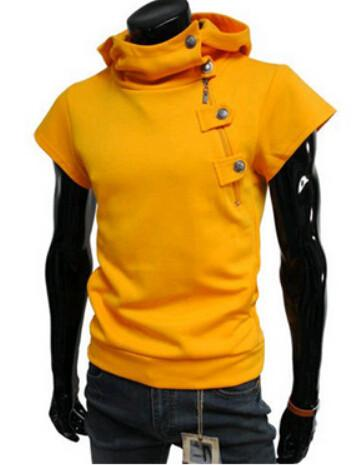 Detonation model of hooded buttons Men's t shirts fashion Cultivate one's morality short sleeve fitness - DealsBlast.com