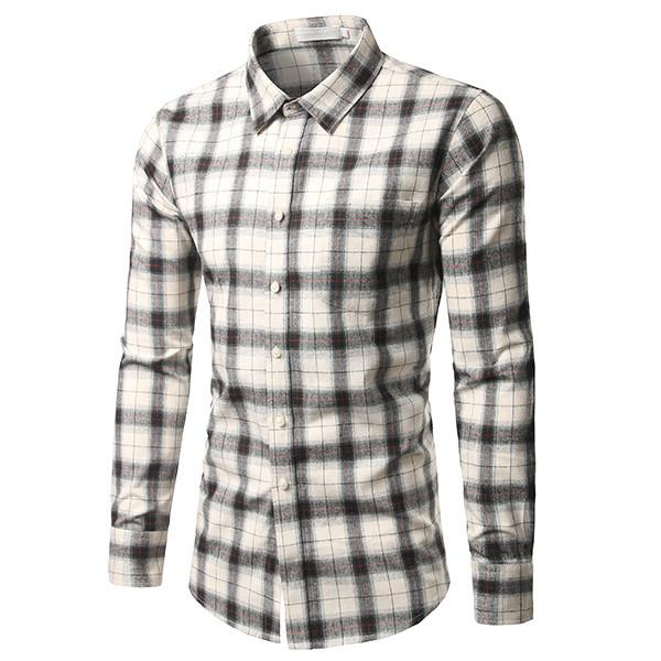 100% Cotton New Plaid Shirt 2017 Mens Fashion Casual Long Sleeve Turn-Down Slim Fit Shirt Men's High Quality Dress Shirts - DealsBlast.com