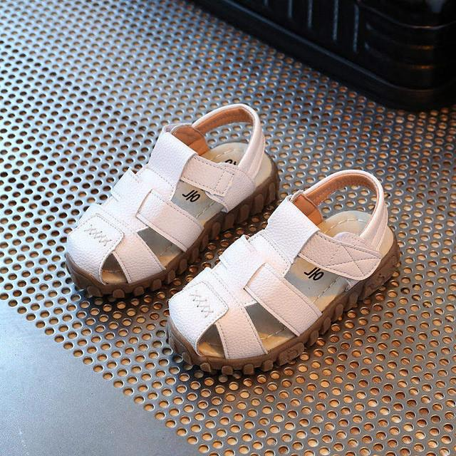 Leather sandals boys 100% soft leather in summer the new boys and girls children beach shoes  kids sport sandals princess s