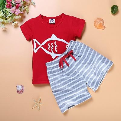 Baby Boys Summer Clothing Set Boat Anchor Fish Striped Cotton Baby Boys Clothes Set T shirt Pant 2PCS Baby suits - DealsBlast.com