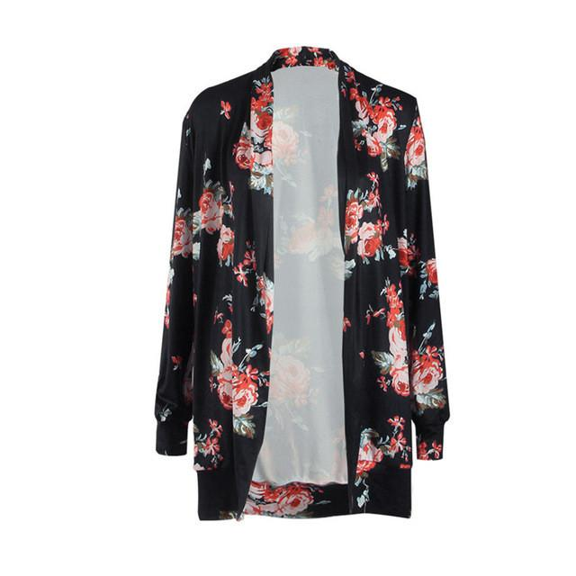 Autumn Womens Floral Printed Blouse 3XL Plus Size Long Sleeve Irregular Printed Long Cardigan Ladies Large Size Outerwear - DealsBlast.com