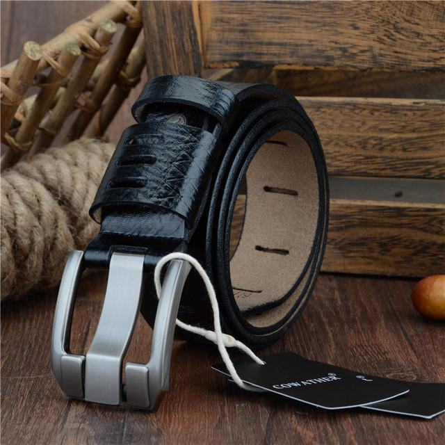 Good quality genuine luxury leather men belts for men strap male pin buckle BIG SIZE 100-130cm - Deals Blast