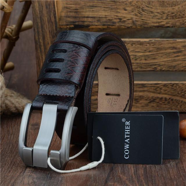 Good quality genuine luxury leather men belts for men strap male pin buckle BIG SIZE 100-130cm
