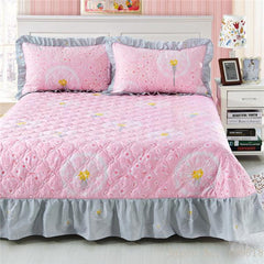 Bedding cotton set 3pcs/set quilted bedspread + 2 pillowcase Ruffles