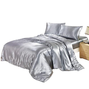 DUVET COVER SET SATIN SILK BEDDING SET WITH DUVET COVER PILLOWCASES pink/black/white/blue/purple/gray/golden - DealsBlast.com