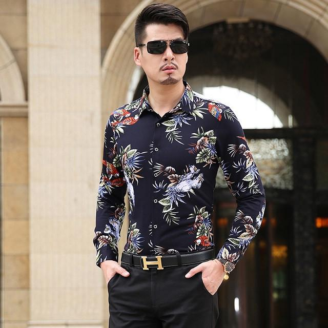 Autumn New Arrival Men's Flower Shirt Fashion Long Sleeved Print Shirt Men Floral Slim Fit Casual Dress Shirt Men - DealsBlast.com