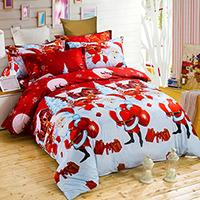 3D Christmas Comforter Bedding Sets Santa Claus Duvet Cover Set Cartoon Elk Santa Bedding Pillowcase - DealsBlast.com