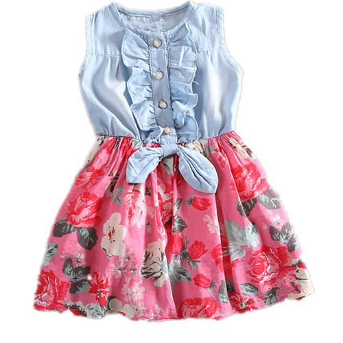 Summer Girl kids Jeans Chiffon Ruffles Floral Princess Dress