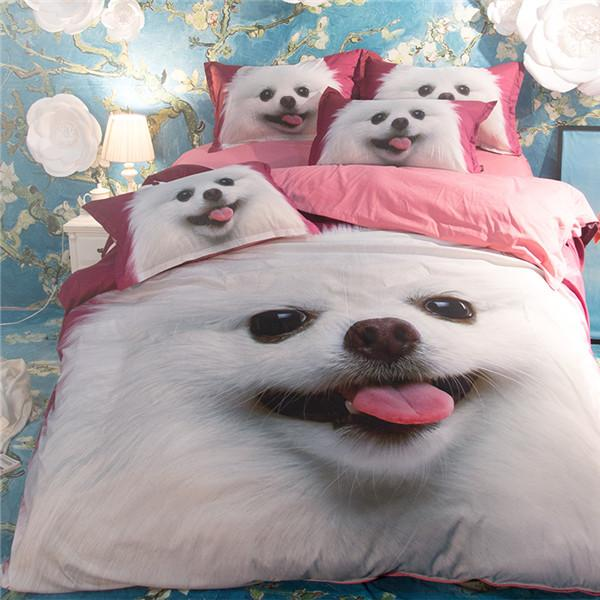 3D Printed Duvet Cute Dog Bedding Set Flat Sheet+Pillowcase - DealsBlast.com