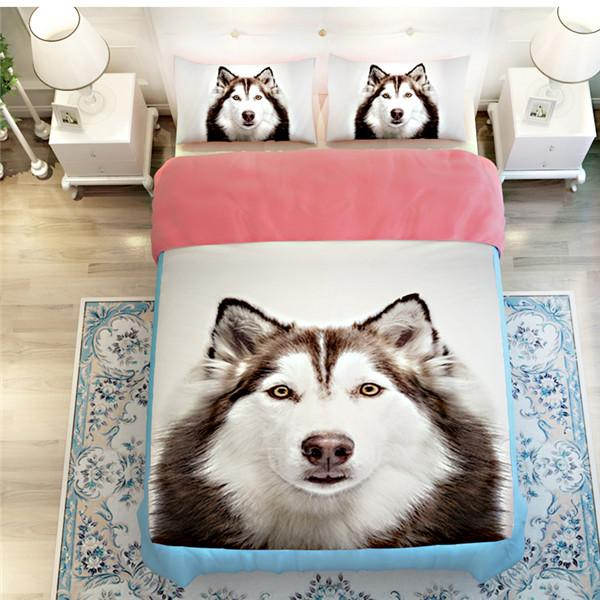 3D Cute Dog Print Bedding Set Duvet Cover Set 3Pcs - DealsBlast.com