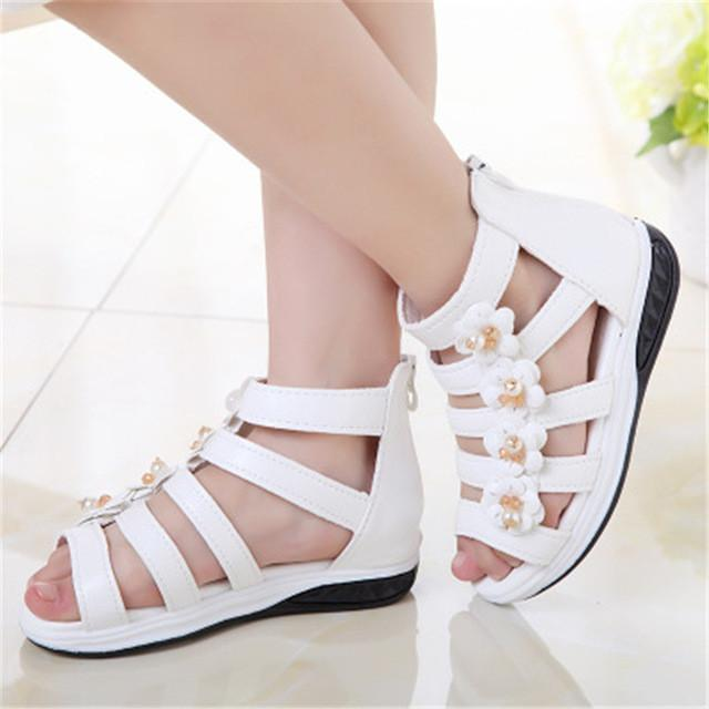 Summer Children Soft Girls Sandals Princess Beautiful Flower Shoes Kids Flat Fashion Girls Sandals Shoes Size 27-37 - DealsBlast.com