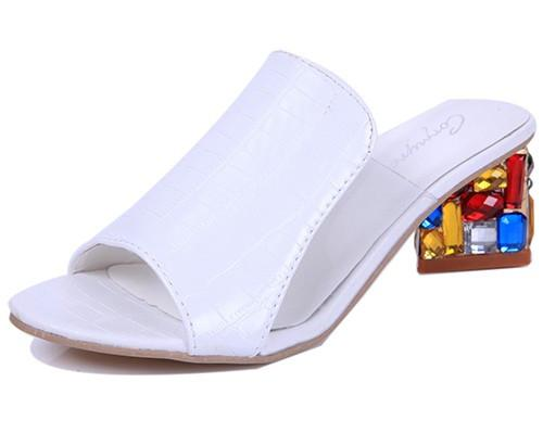 Summer Slippers  Women high Heels Sandals Fashion Rhinestone - DealsBlast.com