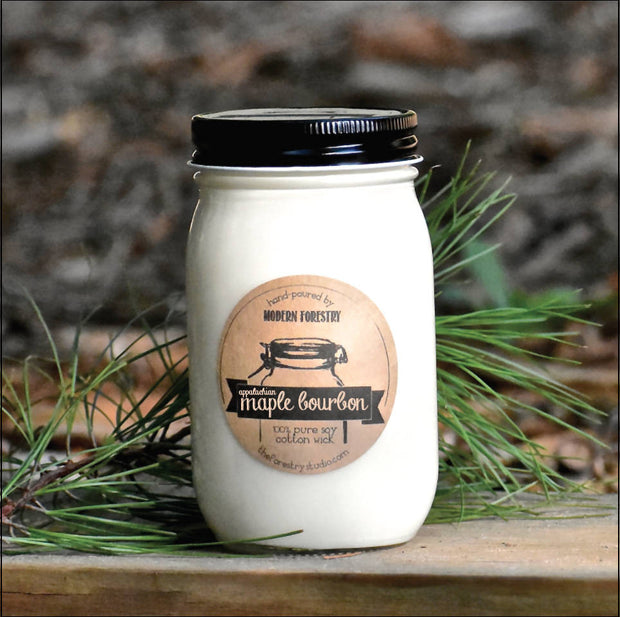 Appalachian maple bourbon mason jar candle