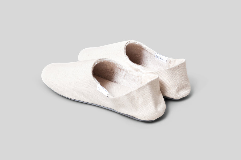 ABE Wool Lined Canvas Home Shoes (Natural)