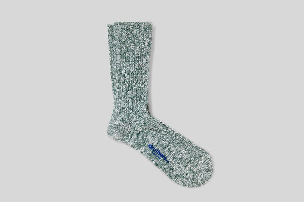 Druthers Organic Cotton Ribbed Slub Crew Socks (Forest Green)