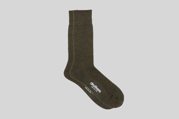 Druthers Merino Wool Waffle Sock (Olive)