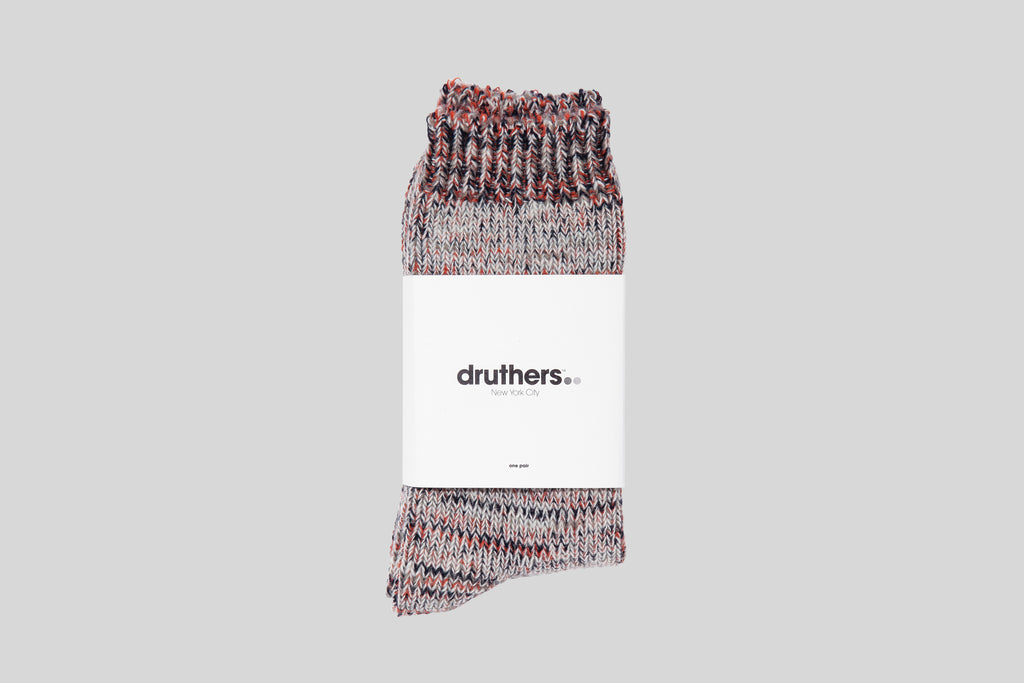 Druthers Tri-Color Wool Crew Socks (Tan/Brick)