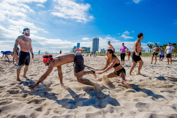 running in the beach wod miami fun