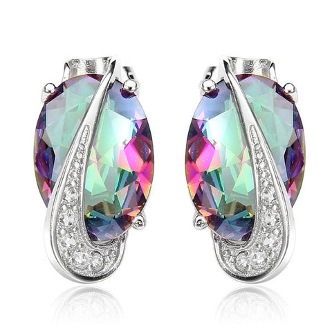 Colorful Crystal Gemstone Oval Shape Jewelry Set-quick deal box