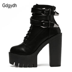 Gdgydh 2017 Spring Fashion Women Boots High Heels Platform Buckle Lace Up Leather Short Booties Black Ladies Shoes Good Quality