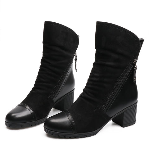 Women High Heel Ankle Boots Suede Leather Women Boots Double Zip Short Plush Square Heel Black Winter Boots