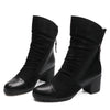 Image of Women High Heel Ankle Boots Suede Leather Women Boots Double Zip Short Plush Square Heel Black Winter Boots