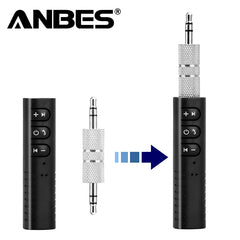 Anbes 3.5mm jack Bluetooth Car Kit Hands free Music Audio Receiver Adapter Auto Car Stereo AUX Kit for Speaker Headphone