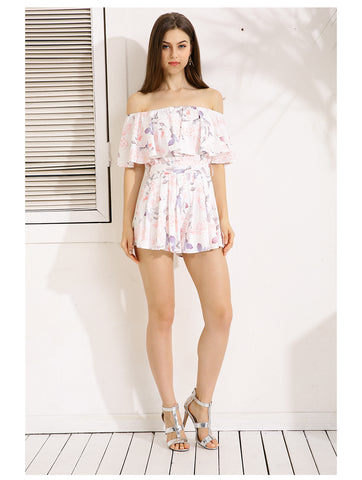 Gaovot Summer Spring Women Playsuit Sexy Off Shoulder Ruffles Floral Print Sweet Romper Women Casual Beach Jumpsuit S-XL