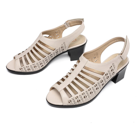AIMEIGAO 2018 Buckle Strap Women Gladiator Sandals Peep Toe Summer Shoes Thick Heels Women Sandals Soft Leather Big Size Shoes