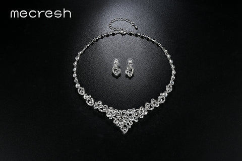 Mecresh Heart Crystal Wedding Bridal Jewelry Sets Silver Color Rhinestone Wedding Jewelry Necklace Sets for Women TL310+MSL285
