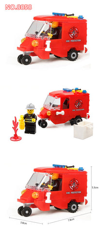 City Fire Fighting Series Building Blocks Toys DIY Firefighting Crew Fire Brigade Truck Car Education Toy Compatible Legoe Duplo