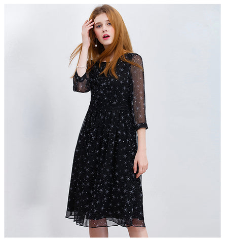 ONLY PLUS S-XXL Long Chiffon Dress Black Star Print Midi Dress Casual Women Tunic Ruffles Holiday Party Dresses Vestido