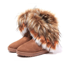 Women's Boots New Fashion Snow Boots Autumn Winter Round Toe Solid Fur Plush Warm Woman Boots Casual Women's Shoes