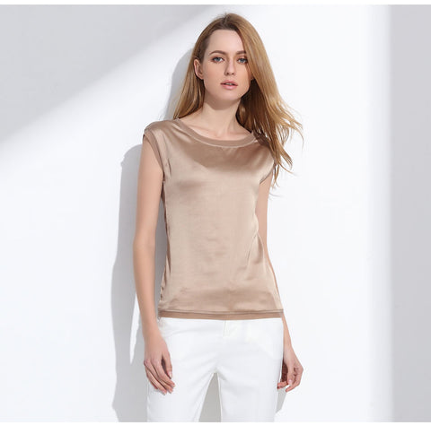 Summer women blouses 2018 new casual chiffon silk blouse slim sleeveless O-neck blusa feminina tops shirts solid 6 color Y048
