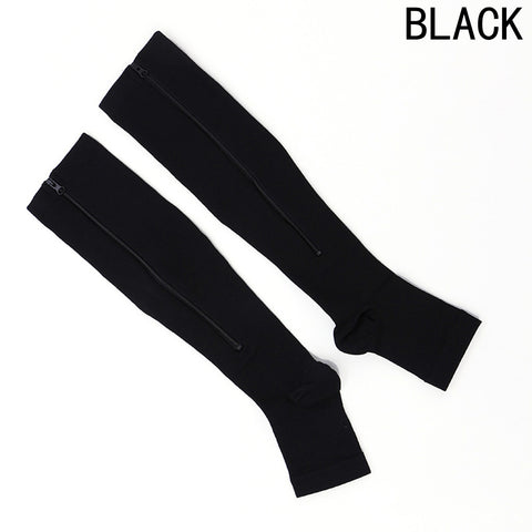NEW 1pair Zip Sox Compression Socks Zipper Leg Support Knee Stockings Open Toe